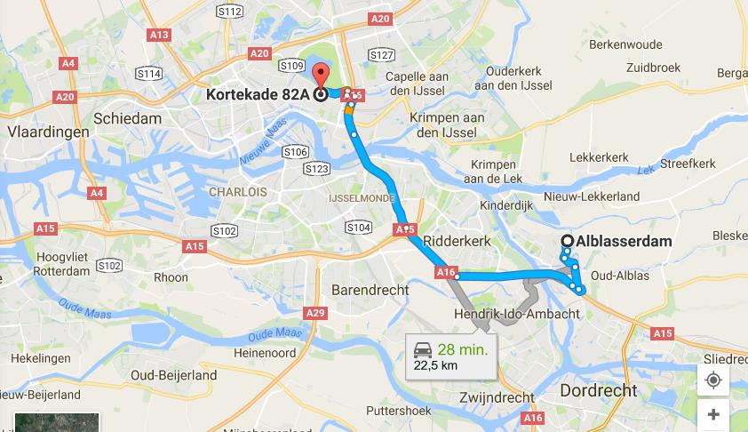 routebeschrijving-auto-alblasserdam-rotterdam